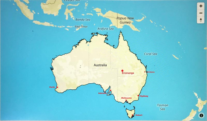 Map of Australia showing capital cities and ENHM